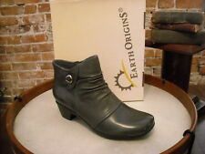 Earth Origins Mallory Gray Leather Ruched Ankle Boot NEW