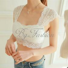 Women Lace Corset T-shirt Bustier Crop Sleeveless Top Blouse Bra Strapless Tank