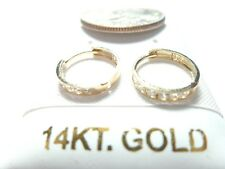 SOLID GOLD Cubic Zirconia Baby/Infant Huggie Earrings.10 or 14KT SOLID GOLD
