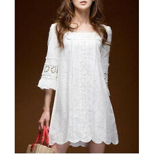 Summer Women Lady Fashion Party Boho Casual Floral Crochet Lace Mini Dress White
