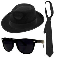 AMERICAN GANGSTER KIT TRILBY HAT BLACK GLASSES TIE FANCY DRESS BLUES BROTHERS