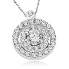 Cluster Circle Pendant Necklace 0.75 Ct Round Cut Diamond Jewelry 14K White Gold