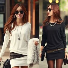 Women Sexy Long Sleeve Mini Dress Bodycon Slim Evening Party Cocktail Blouse Top