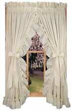 """Curtains Ruffled Priscilla Country With Tie Backs 86"""" x 84"""" Long Country Style"""