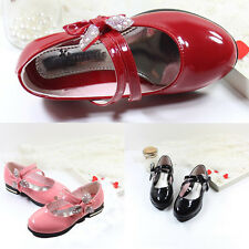 Childs Girls Toddlers Bow Princess Dress Shoes Slip On Casual Velcro Lace Party
