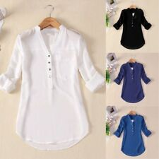 4 SIZE S-4XL Womens V Neck Chiffon Top Long Sleeve Button Tee Shirt Loose Blouse