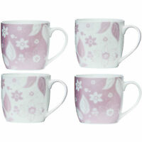 Set Of 4 Large Metallic Flower Tea Coffee Mugs Cup Blue Taupe Lilac Pink Colours