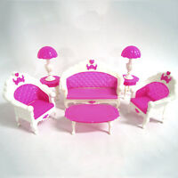 NEW Fashion Lovely Toy Barbie Doll Pink Sofa Chair Desk Lamp Furniture Set SK-S