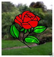 Single Rose Stained Glass Effect Window Cling