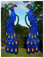 Pair of Peacocks Stained glass effect window clings