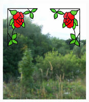 Pair of Corner Roses Stained Glass Effect Window Clings