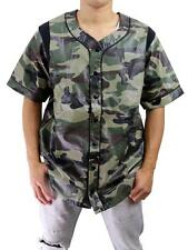 NEW KITE MEN'S MESH FAUX LEATHER BUTTON UP BASEBALL JERSEY SHIRT ARMY CAMOUFLAGE