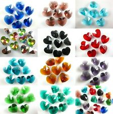 Charms Glass Crystal Heart Faceted Pendant Jewelry Findings 14mm Loose Beads