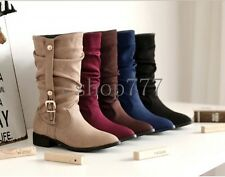 Women Shoes Faux Suede Low Cuban Heel Buckle Strap Ladies Mid Calf Boots UK Size