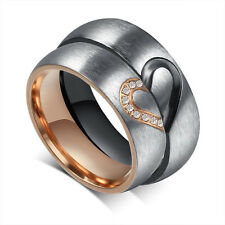CZ Couple Rings Forever Love Heart Brushed Titanium Steel Wedding Promise Band