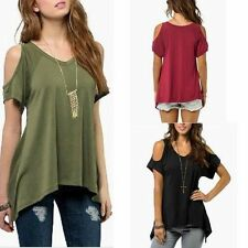 Hot Sexy Open Cold Shoulder Long Cut Out Blouse Tunic Short Sleeve Top Shirt 10