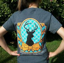 Southern Couture Preppy Deer Head Chevron Country Girl T-Shirt with Bow- Hunting