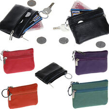Ladies Mens Genuine Leather Zipper Chain Coin Purse Mini Wallet Key Pouch Clutch