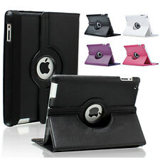 360° Rotating PU Leather Cover Case Sleep/Wake Up Stand For The New iPad 4 3 2