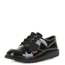 Girls Kids Kickers Kick Lo Core Black Patent Youth School Smart Shoes Size
