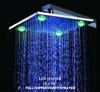 "10"" Chrome Solid Brass Square Led Three Color Change Rainfall Shower Head 101B"