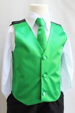 Boys Big Men Emerald/Kelly Green vest and long/bow tie set wedding formal suit