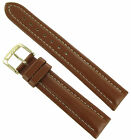 18mm Speidel Tan Water Resistant Stitched Aviator Genuine Leather Watch Band