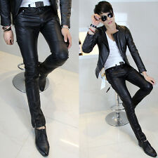 New Mens Black Top Quality PU Faux Leather Slim Fit Trousers Pants Skinny Sizes