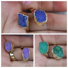 Blue Purple Green Agate Druzy Raw Rough Gold Plated Adjustable Ring