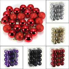 24Pc Chic Christmas Baubles Tree Plain Glitter XMAS Decoration Ornament Ball Hot