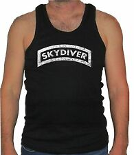 Skydiver free fall parachute distressed look sleeveless muscle black tank top