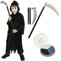 CHILDS GRIM REAPER WITH SCYTHE AND FACE PAINT HALLOWEEN FANCY DRESS COSTUME