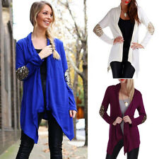 New Women Casual Knitted Sweater Long Sleeve Sequined Waterfall Cardigan Outwear