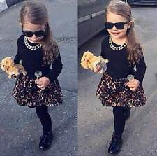New Kids Baby Girls Black T-shirt + Leopard Skirt With Leggings 2Pcs Outfits Set