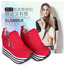 Womens/Students Lace Up High Platform Wedge Sneakers Trainer shoes Casual C343