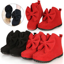 Girls Kids Toddler Casual Shoes Korean Bow Boots Soft Slip on Flat