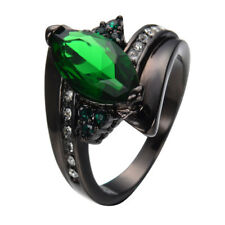 Rings Size 6-10 Green Emerald CZ Marquic Cut 10Kt Black Gold Filled Wedding Gift