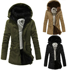 Mens Womens Couple Fleece Thick Parka Warm Hoodie Coat Outwear Trench Coat Tops