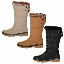 WOMENS BOOTS LADIES MID CALF FUR LINED ZIP FLAT QUILTED WARM WINTER SHOES SIZE