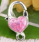 20pc Silver Plated Blue Enamel Heart Clasps Charm Fit European Bead AB353-3