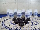 8 Vintage White Milk Glass Spice Containers , Salt & Pepper, Meat , Poultry etc
