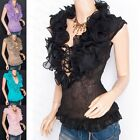 Beautiful Chiffon Tiered Ruffles Crinkles Corset Lace Up Sleeveless Top
