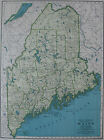 1944 Vintage MAINE State MAP of Maine 1940s UNUSUAL Color Maine Map 2649