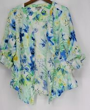 JM Collection Top 16 Roll Tab Sleeve Floral Print Button Front Green NEW