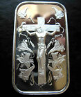 2 X 1oz JESUS ON THE CROSS .999 PURE SILVER BARS ~ NEW & SEALED IN VINYL !