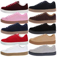 WOMENS LADIES CREEPERS TRAINERS LACE UP PLATFORMS FLATFORMS FASHION SHOES SIZE