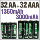 32 AA+32 AAA 1350mAh 3000mAh 1.2V NI-MH rechargeable battery 2A 3A GO!Green