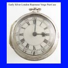 Silver Fusee Verge London Repousse P-Case Watch 1700