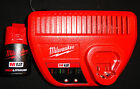 (1) MILWAUKEE M12 12 VOLT RED LITHIUM BATTERY PACK 48-11-2401 & CHARGER