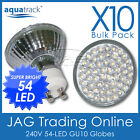 10 x 240V 54-LED GU10 COOL WHITE DOWN LIGHT GLOBES-House/Ceiling Downlight Bulbs